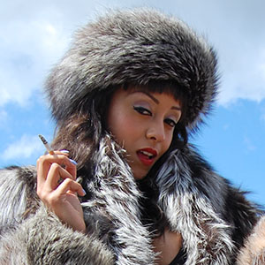 Alyssa Divine in silver fox fur jacket and hat