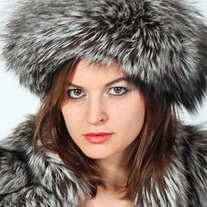 April O slim slender brunette silver fox fur jacket hat