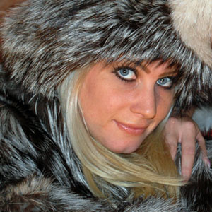 Ashleigh Mckensie in silver fox fur jacket and hat