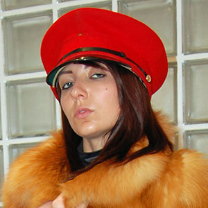 Crystal Coxxx in red fox fur coat