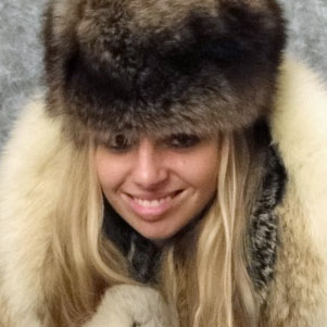 Jana in lynx fur coat and raccoon fur hat