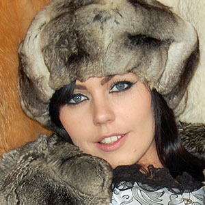 Kacie James in chinchilla fur jacket and hat