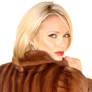 Lucy Zara in brown mink fur coat