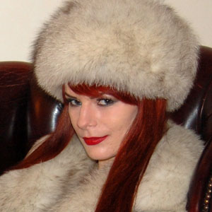Rebekka Raynor in blue fox fur jacket and hat