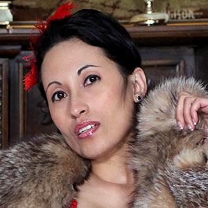 Tia Saint asian babe brunette fur lover crystal fox jacket