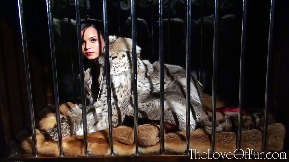 Sasha in lynx fur jacket is locked in a cage