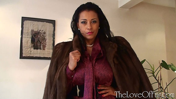 Madame Danica in satin blouse and brown mink fur coat