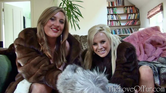 Leona Lee and Syren Sexton in brown mink fur coats tease you with furry mittens
