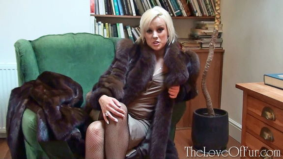 Syren Sexton in brown mink and fox fur coat visits her therapist