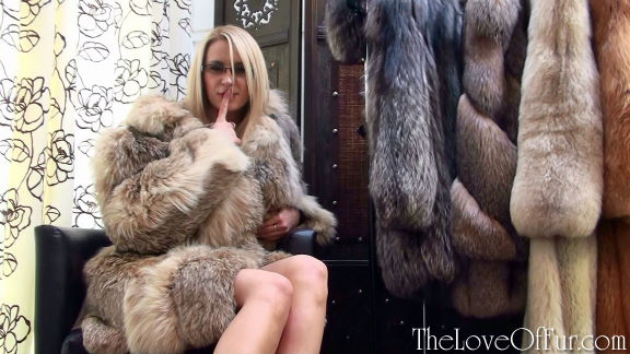 Jessica Lloyd in lynx fur jacket dominates her boss using his fur fetish