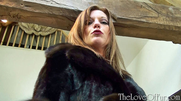 Holly Kiss dominates you in black mink fur coat