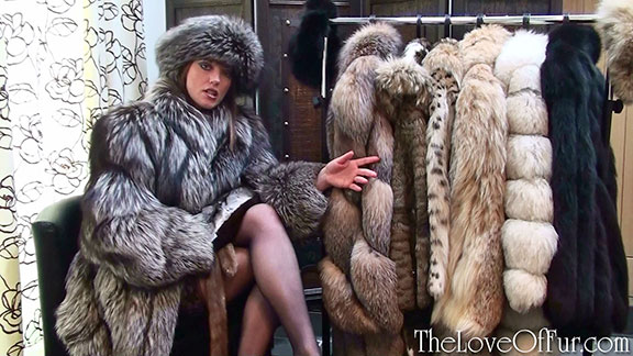 Holly Kiss shows off her rail of fur jackets wearing silver fox fur