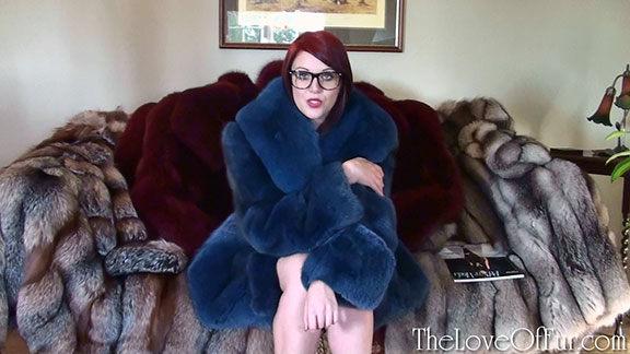 Shay Hendrix plays therapist in blue fox fur jacket and glasses