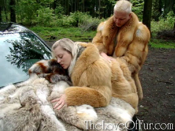 Niki wears two layers of fox fur in the forest as Michal fucks her