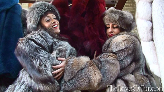 Mistresses Alyssa Divine and Chloe Lovette tease you with amazing fox fur coats