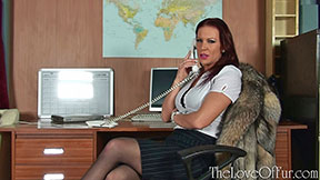 Ashleigh Embers in office wear stockings and crystal fox fur jacket