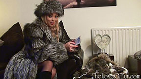 Natalia Forrest silver fox fur coat stockings boots financial domination money slave