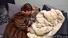 Milf in mink Slave Scarlett rubs her big tits with fox fur