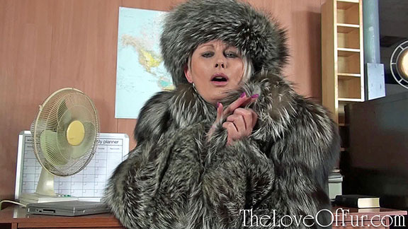 Sexy milf Sally Taylor snuggles up in her silver fox coat and hat