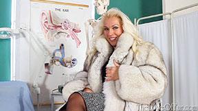 Hot russian milf Lana Cox in fox fur coat office wear stockings