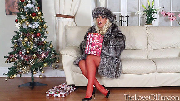 fur fetish christmas Lana Cox silver fox fur stockings presents tree