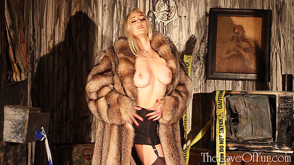 sapphire blue blonde model fur coat crystal fox big tits busty stockings lingerie