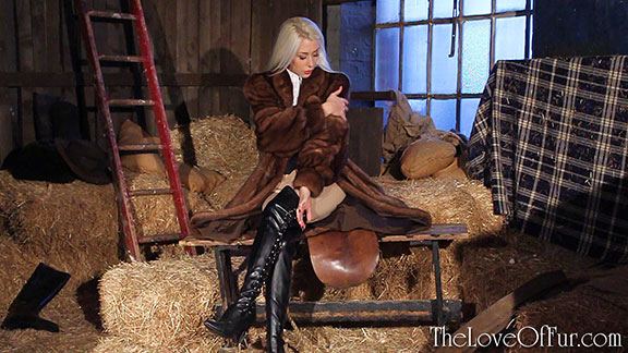 charlotte elizabeth paris fur fetish mink coat boots riding barn