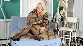 sexy nurse fur coat fetish charlotte elizabeth paris blonde stockings heels hospital