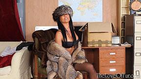 fox fur coat fun kasia lingerie bra boobs sultry stockings