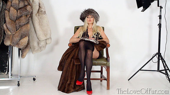 fur fashion model sapphire blue stockings heels mink coat fox hat