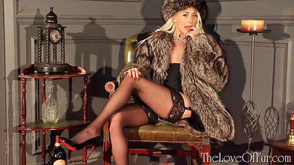 love of fur fetish charlotte elizabeth paris fox coat louboutin high heels stockings lingerie
