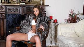 love of fur coat fetish natalia forrest silver fox bra panties fingers down knickers