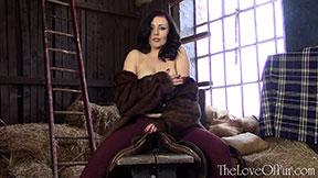 busty kacie james tits fur jacket mink coat love fetish stable barn lingerie