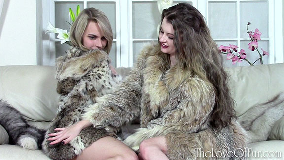 love of fur fetish lynx jacket coat chloe toy brook logan lesbian two girl furring sensual