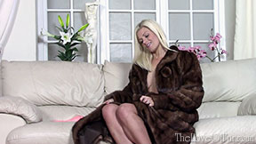 lizzy blonde love of fur fetish mink coat tattoos big tits sexy british babe