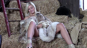 love of fur lizzy blonde busty babe british lynx jacket fox stole barn frigging