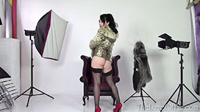 leggy jasmine lau models fur jacket coat lynx in studio stockings high heels brunette