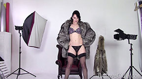fox fur coat fetish jasmine lau model love stockings bra panties photo studio shoot