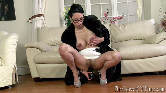 tia saint asian babe mink fur coat fetish leggy big tits dildo sex toy fucking