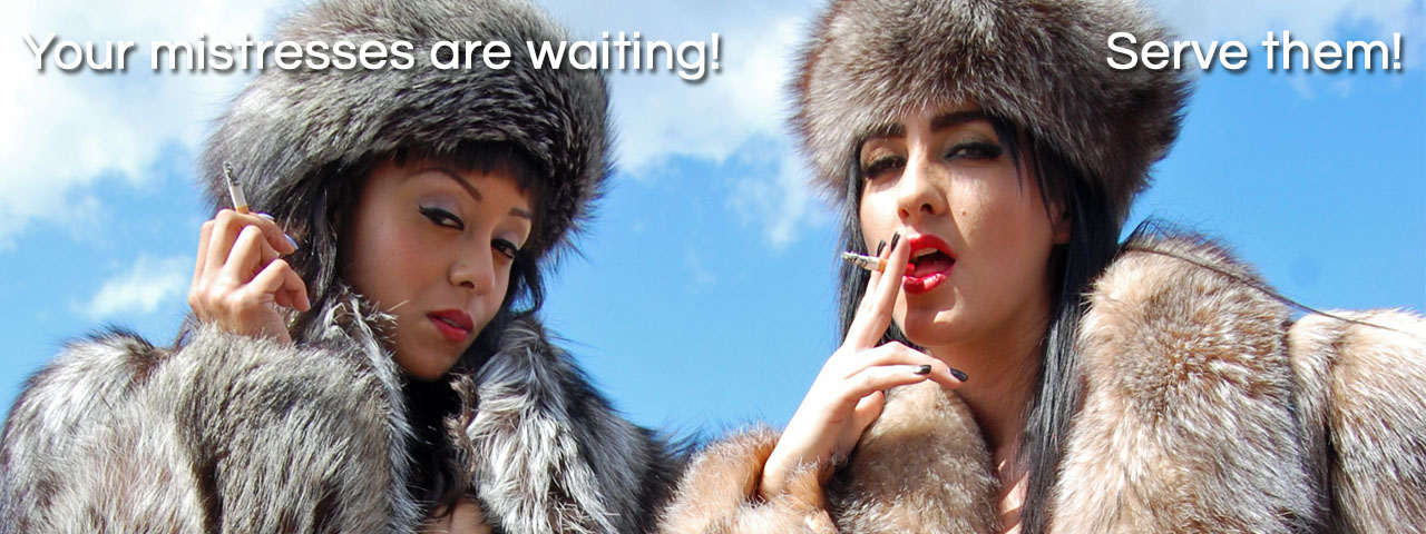 The Love Of Fur fetish smoking mistress Alyssa Divine Chloe Lovette in fox fur coat hats goddess