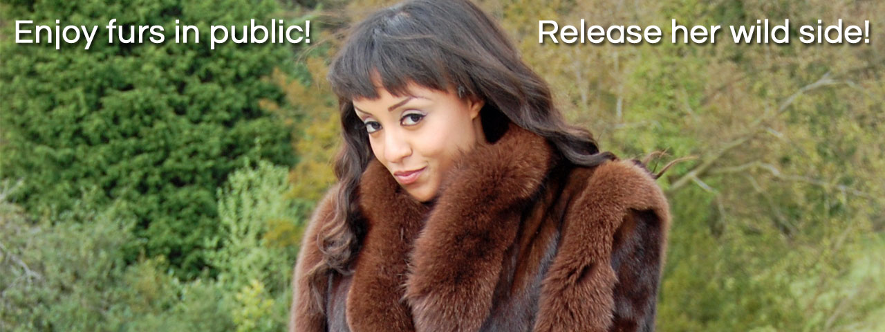 The Love Of Fur young teen black ebony babe Alyssa Divine in mink fox fur coat outdoor fun