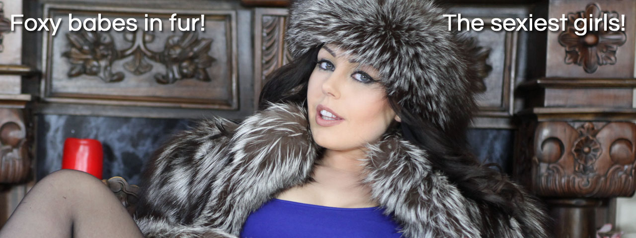 The Love Of Fur sexy sultry brunette Kacie James silver fox jacket coat hat headband stockings